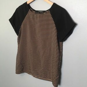 Zara Basic | tan and black striped tee small